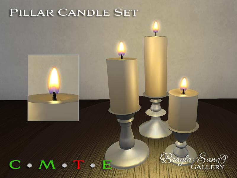 Pillar Candle Set Silver